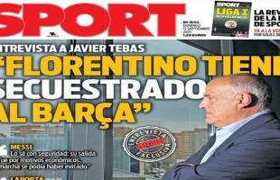 رئيس رابطة الدوري الإسباني يتهم بيريز باختطاف برشلونة